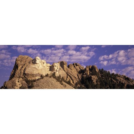 Panoramic Image With White Puffy Clouds Behind Presidents George Washington Thomas Jefferson Teddy Roosevelt And Abraham Lincoln At Mount Rushmore National Memorial South Dakota Poster Print