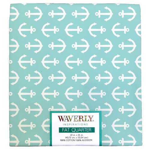 "Waverly Inspiration Fat Quarter 100% Cotton, Anchor AQUA Print Fabric, Quilting Fabric, Craft fabric, 18"" by 21"", 140 GSM"