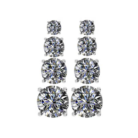 Earring Set Swarovski Zirconia Solitaire Stud CZ Sterling Silver & Hypoallergenic Stainless Steel Post White Gold Plated Gold Plated Center