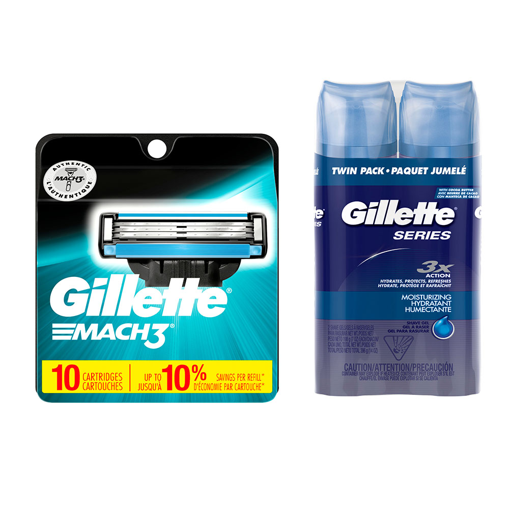 Gillette Mach3 10ct Razor Blade Refill and Shave Gel Bundle