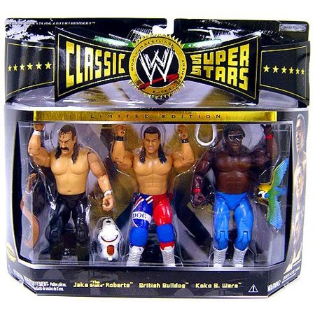 WWE Wrestling Classic Superstars Champion Series Jake Roberts, British Bulldog & Koko B. Ware Action Figure 3-Pack Wwe Classic Superstars
