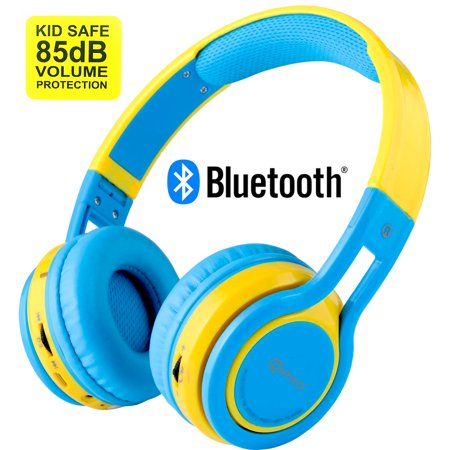 Contixo Kid Safe 85db Over the Ear Foldable Wireless Bluetooth Headphone w/ Volume Limiter, Built-in Micro Phone, Micro SD card Music Player, FM Stereo Radio, Audio Input & Output (Blue +