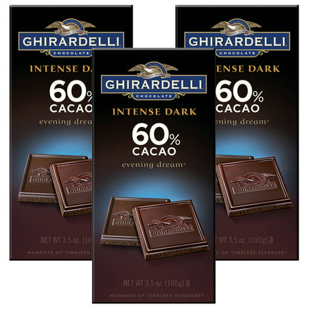 Dark Chocolate Brown Leather ((2 Pack) Ghirardelli Intense Dark Chocolate 60% Cacao Evening Dream, 3.5 OZ )