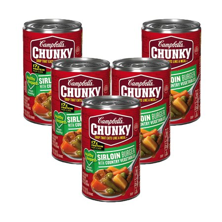 (5 Pack) Campbell's Chunky Healthy Request Sirloin Burger with Country Vegetables Soup, 18.8