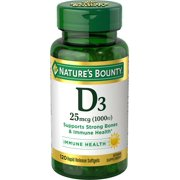 Nature's Bounty Vitamin D3 Softgels, 25 mcg (1000 IU), 120 Ct