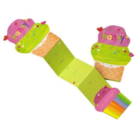Mara-Mi Folding Ice Cream Cone Invitations, 10 - Ice Cream Social Invitation