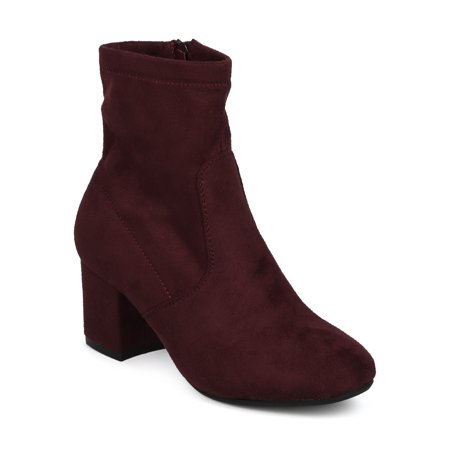 Women Riding Chunky Block Heel Sock Boot Bootie - Casual Dressy Versatile Everyday Fall Winter - by Refresh Collection