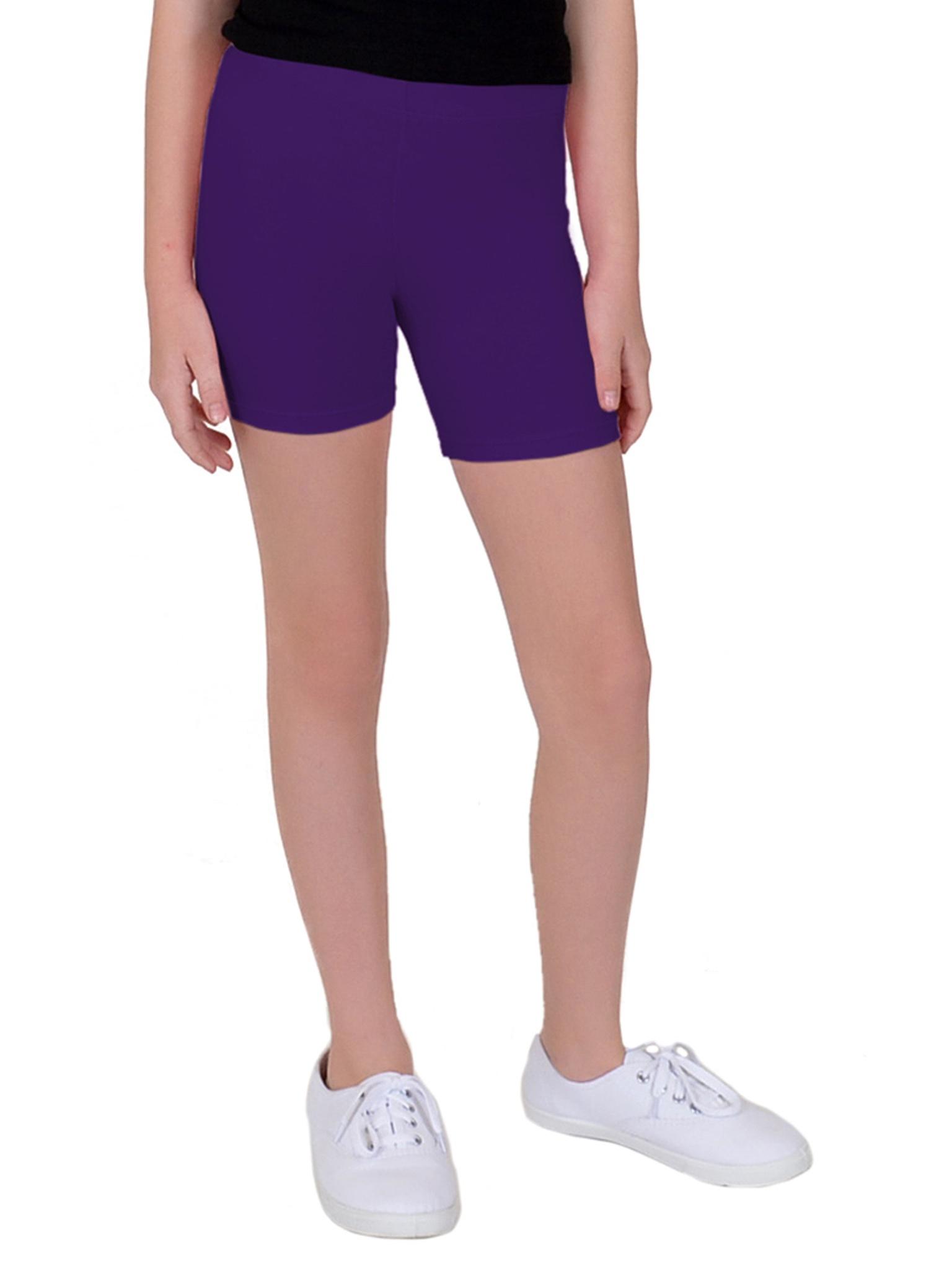 Girl's Cotton Biker Shorts - Small (6) / Beige