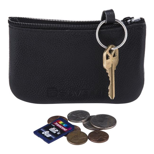 Suvelle WP470BK Mens Genuine Leather Zippered Coin Pouch Change Purse - Black - image 1 de 1