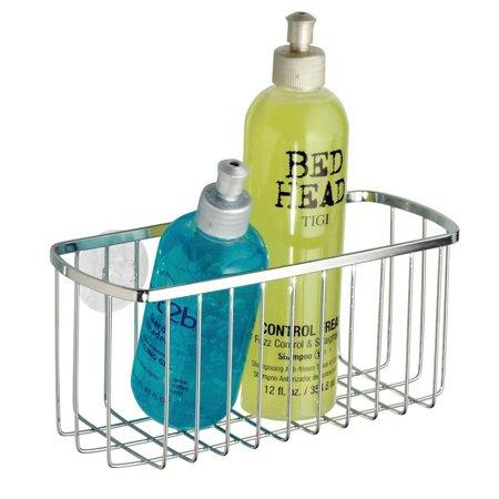 Interdesign Chrome Basket - InterDesign Gia Suction Attach Rectangular Bathroom Toiletry Basket Chrome 69002