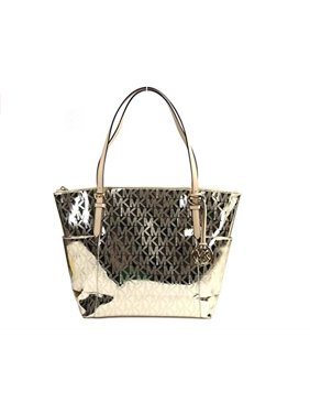 e9cab98d40 Product Image Michael Kors Mk Signature Mirror Metallic Jet Set Ew Top Zip  Shoulder Bag Tote Handbag