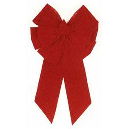 Christmas Bow, 11-loop, Red Velvet, 18 X 35 X 6