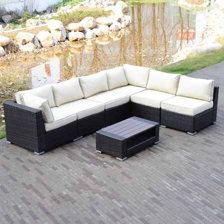 7pcs Outdoor Patio Rattan Pe Wicker Sectional Furniture Sofa Set Couch Brown