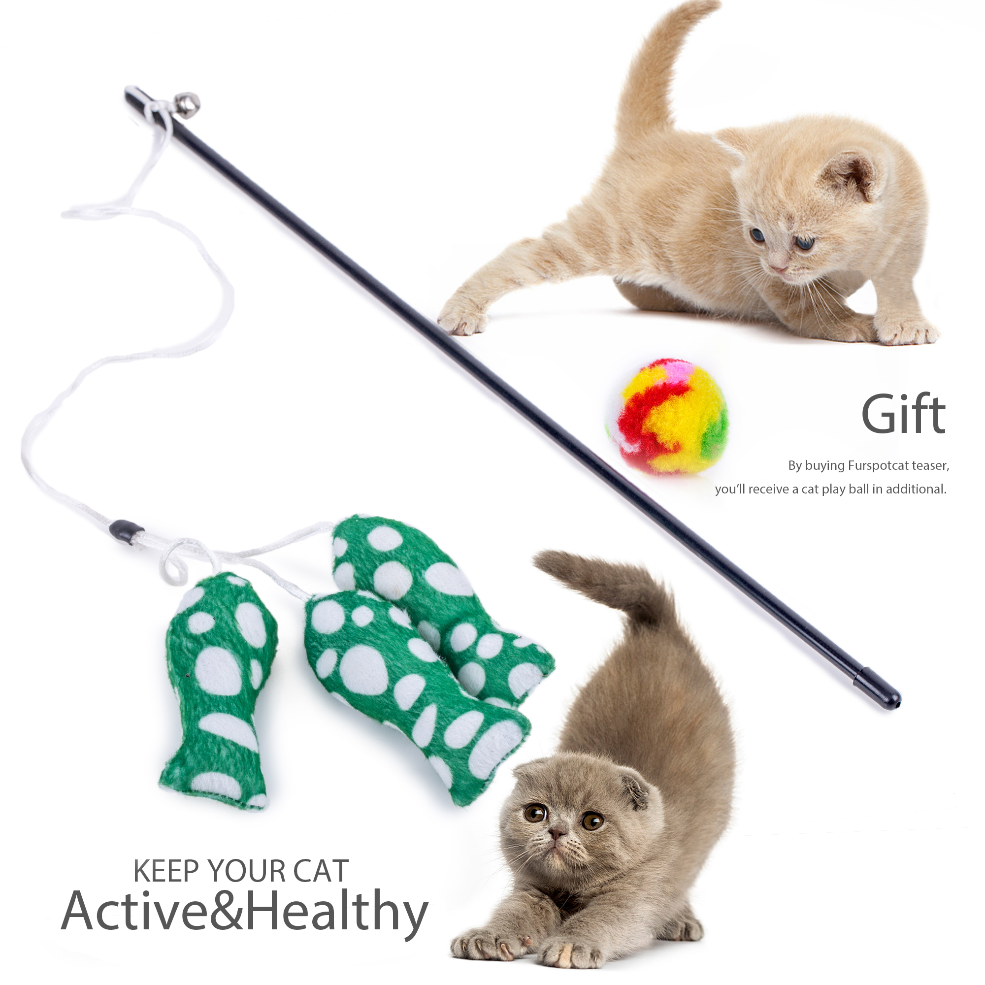 Bounce & Pounce Green Fishes Teaser Cat Toy by JML