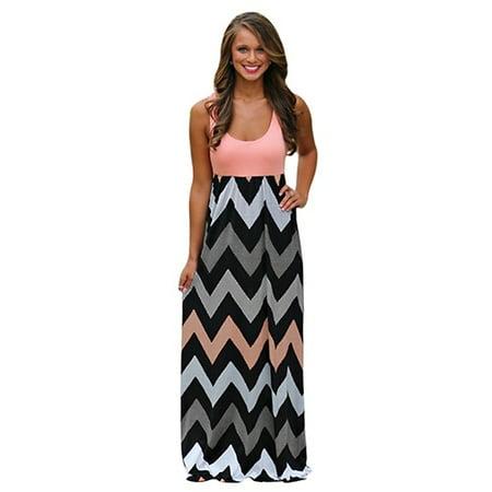 2382739a23 Women Summer Bohemian Empire Waist Chevron Pattern Scoop Neck Tank Maxi  Evening Dresses - Walmart.com