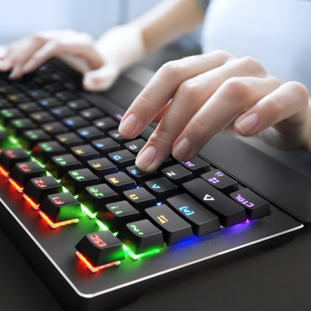 Black web gaming mechanical keyboard led control