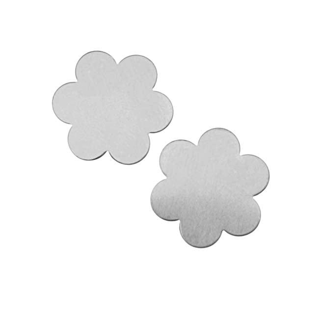 Silver Color Nickel Alloy Mod Flower Stamping Blanks - 21.5mm 24 Gauge (2)