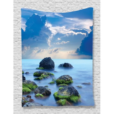 Beach Tapestry, Sea Stones on Mystic Seaside Caribbean Shore Photo Majestic Cloudscape, Wall Hanging for Bedroom Living Room Dorm Decor, Blue Pale Blue Green, by Ambesonne