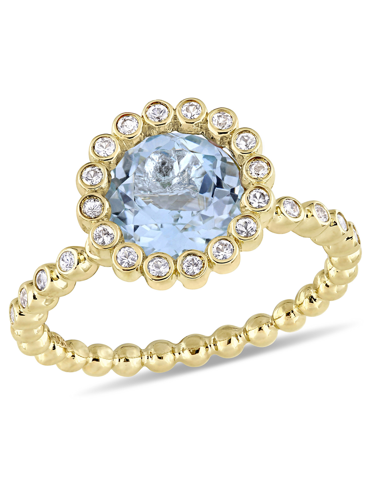 Tangelo 2-5/8 Carat T.G.W. Sky-Blue Topaz and White Sapphire 10kt Yellow Gold Halo Engagement Ring