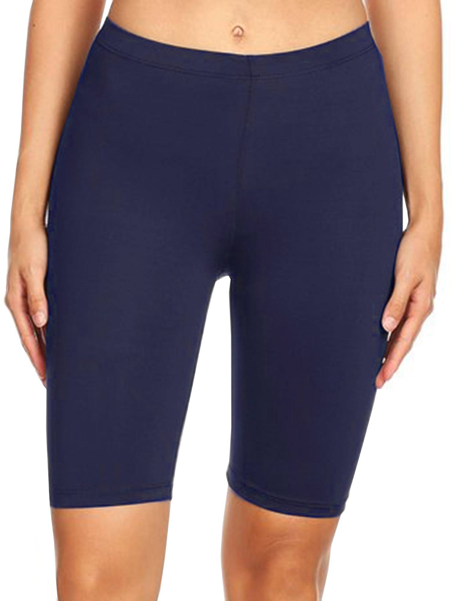Imagenation Plain Soild Biker Shorts, Large, Navy
