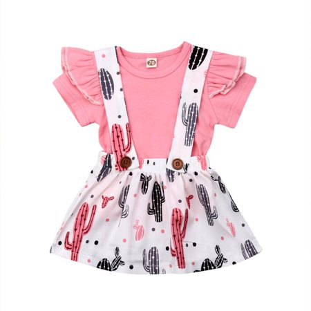 Infant Newborn Baby Girls 2PCS Ruffle Short Sleeve T-Shirt Tops Cactus Print Skirt Outfit Set Clothes](Cactus Outfit)
