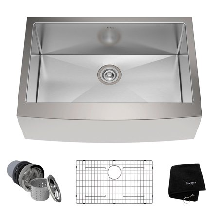 "Kraus 30"" Farmhouse Single Bowl Stainless Steel Kitchen Sink with Soundproofing"