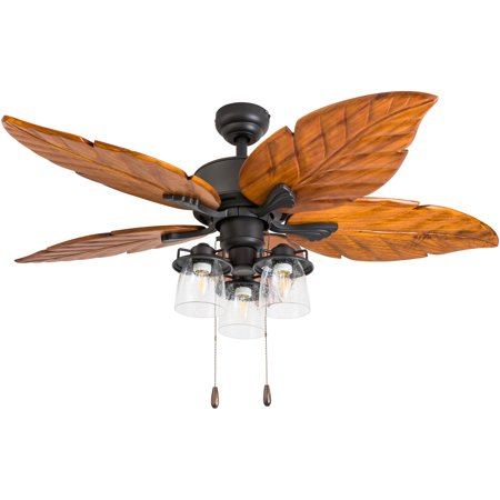 Prominence Home 50677-35 Caspian Sea Tropical 52-Inch Aged Bronze Indoor Ceiling Fan, Multi-Arm LED Lighting with Dark Cherry Hand Carved Wood Blades ()