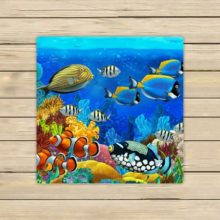 GCKG Sea Seabed Fish Corals Underwater Ocean Tropical Beach Towel Shower Towel Wrap For Home and Travel Use Size 13x13 inches (Fish Scale Beach Towel)