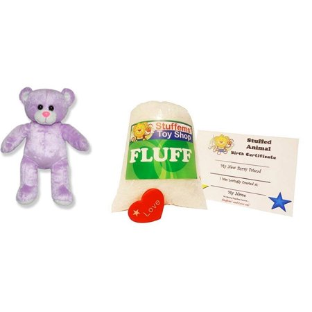 Make Your Own Stuffed Animal Mini 8 Inch Purple Embossed Heart Bear Kit - No Sewing Required!