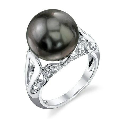 12mm Tahitian South Sea Cultured Pearl & Diamond Mona Ring in 18K Gold Diamonds 12mm South Sea Pearl