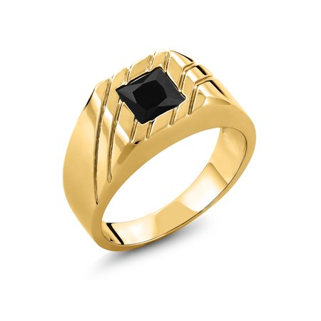 1.70 Ct Princess Black Onyx 18K Yellow Gold Plated Silver Men's Ring