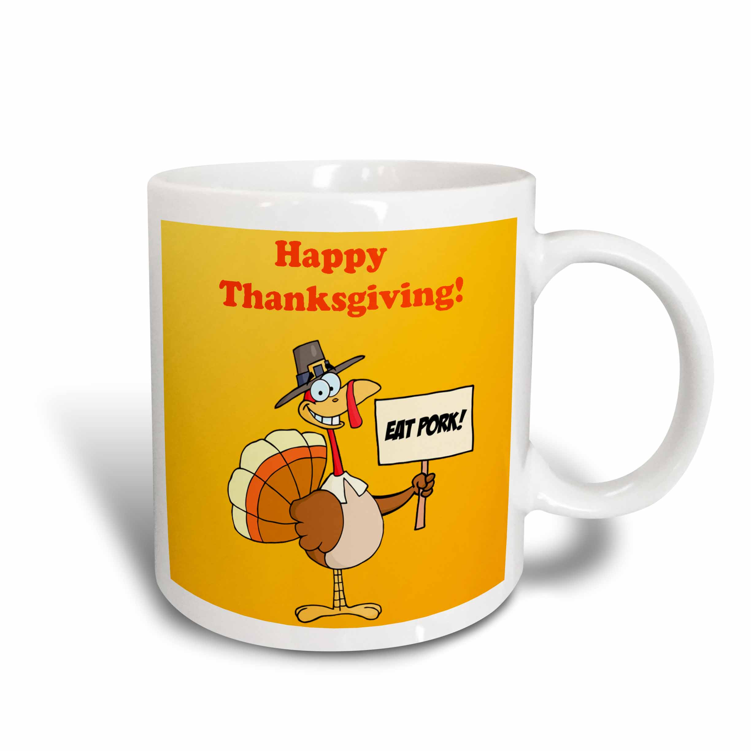 3dRose Happy Thanksgiving Turkey , Ceramic Mug, 15-ounce