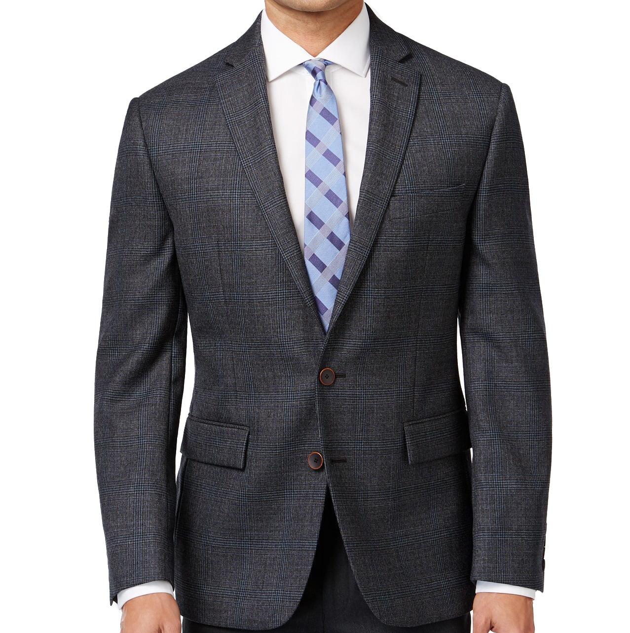 Ryan Seacrest Distiction New CharcoalGray Mens 40S Plaid Wool Jacket by Ryan Seacrest Distiction