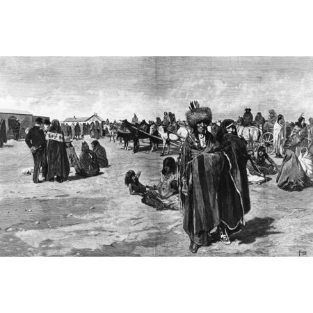 Sioux Ration Day 1883 Nsioux Native Americans On Ration Day At The Standing Rock Agency Dakota Territory 1883 Contemporary Wood Engraving After Henry F Farny Rolled Canvas Art -  (24 x 36)