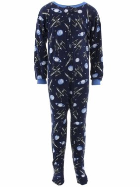 Quad Seven Boys Space Rockets Navy Footed Pajamas