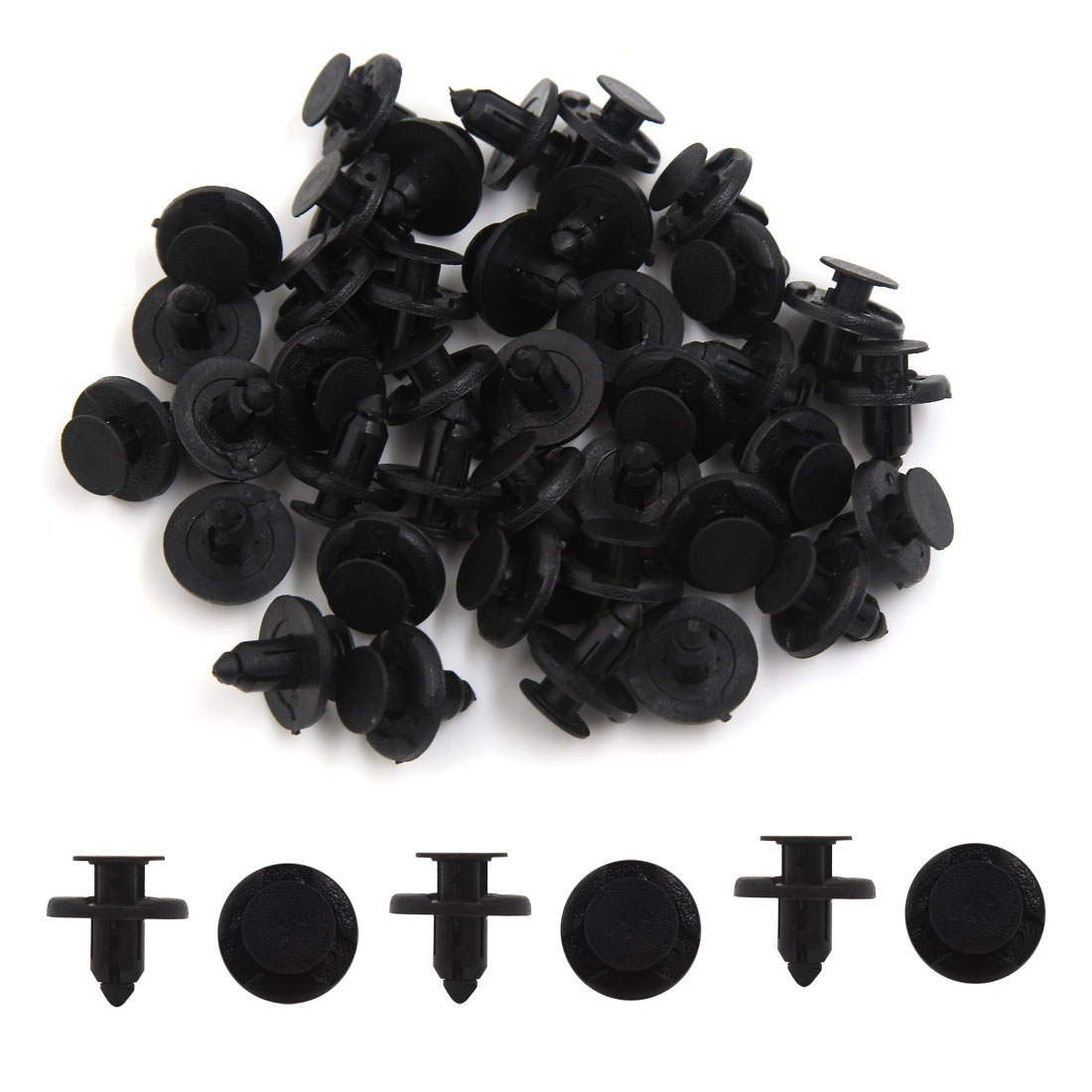 40 Pcs 8mm Dia Hole Plastic Rivets Fastener Push Clips Black for Car Auto Fender - image 1 of 2