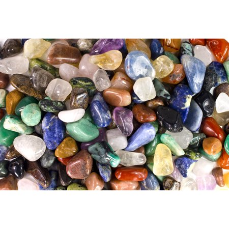 "Fantasia Crystal Vault: 3 Pounds of Tumbled Stones from Brazil - Polished Natural Rocks - Assorted Mix - X Small Size - 0.5"" to 1"" (Average 0.75"")"