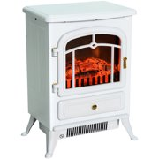 """HOMCOM Freestanding Electric Fireplace Heater with Realistic Flames, 21"""" H, 1500W, White"""
