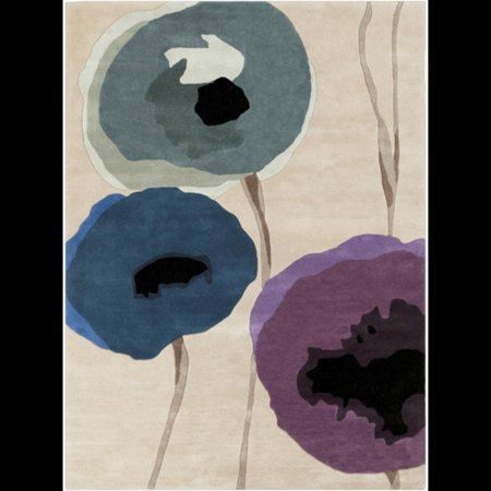 Sensations Chinese Wool (5' x 8' Tulips Sensation Teal, Violet, Olive and Black Wool Area Throw)