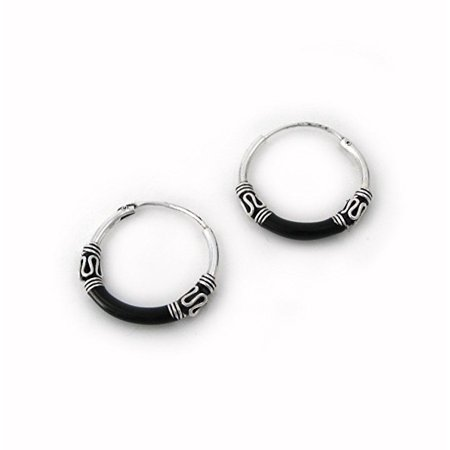Bali Sterling Silver Fashion Earrings - Sterling Silver Bali Design Color Coated 16mm Hoop Earrings, Black