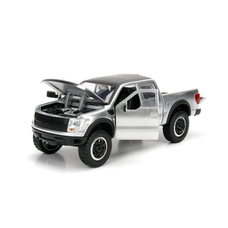 Jada Toys 1:24 Scale Just Trucks Die Cast 2011 Ford F-150 SVT Raptor Pickup Truck Silver with Matte Black Top and Extra Wheels