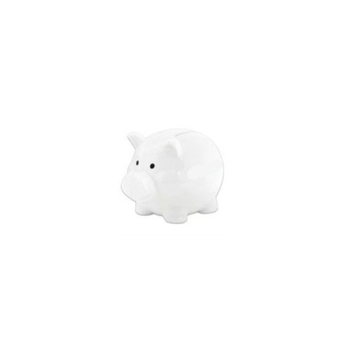 "4"" White Plastic Piggy Bank (100 Units Included)"
