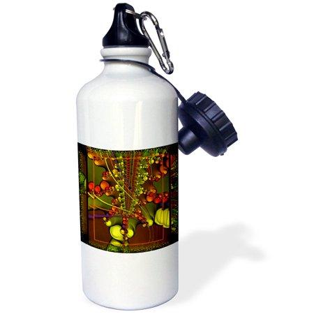 3dRose PSYCHEDELLIC SPLASH hippie retro psychedellic flowerpower fractal yellow red blue green, Sports Water Bottle, (Retro Bottle Caps)