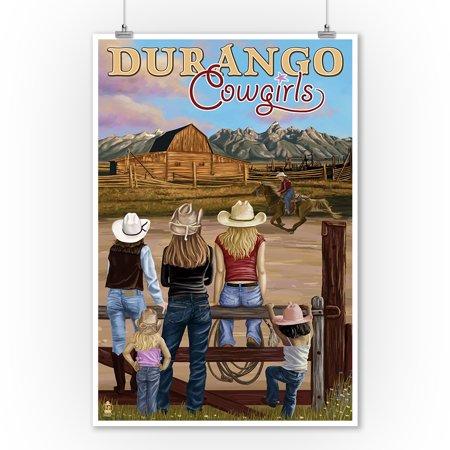 Durango, Colorado - Cowgirls - Lantern Press Poster (9x12 Art Print, Wall Decor Travel - Cowgirl Wall Decor