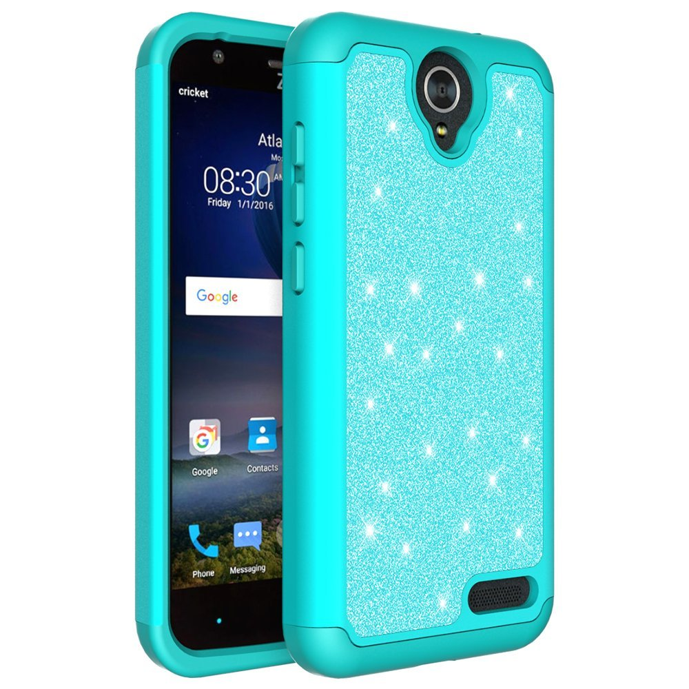 ZTE ZMAX Grand, ZTE Champ, ZTE Avid 916, ZTE Grand X 3 Case, Glitter Bling Hybrid Case with [HD Screen Protector] Dual Layer Protective Phone Case Cover for ZTE ZMAX Grand/Champ - Mint - image 3 de 5