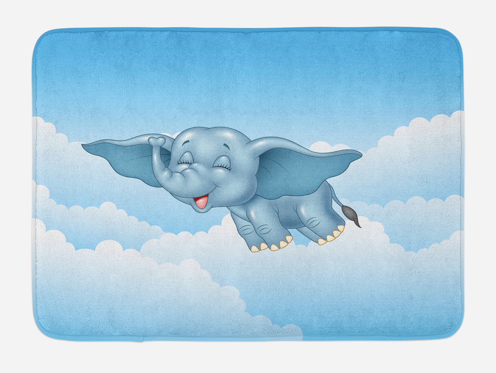 Animal Bath Mat, Cute Baby Flying Elephant Clouds Comic Humor Happiness Kids Caricature... by 3decor llc