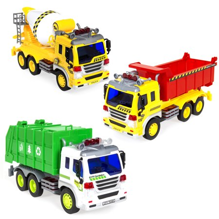 Best Choice Products 3-Pack 1/16 Scale Push-and-Go Friction Powered Garbage Truck, Cement Mixer Truck, and Recycling Truck w/ Lights and Sounds Cotton 3 Pack Trunk