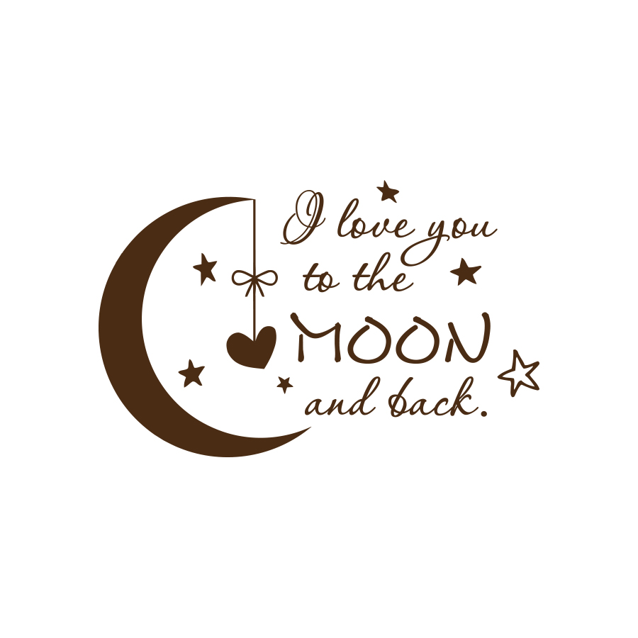 Quote I Love You to the Moon and Back Wall Decal Nursery Kids Room Decor f1 (black)