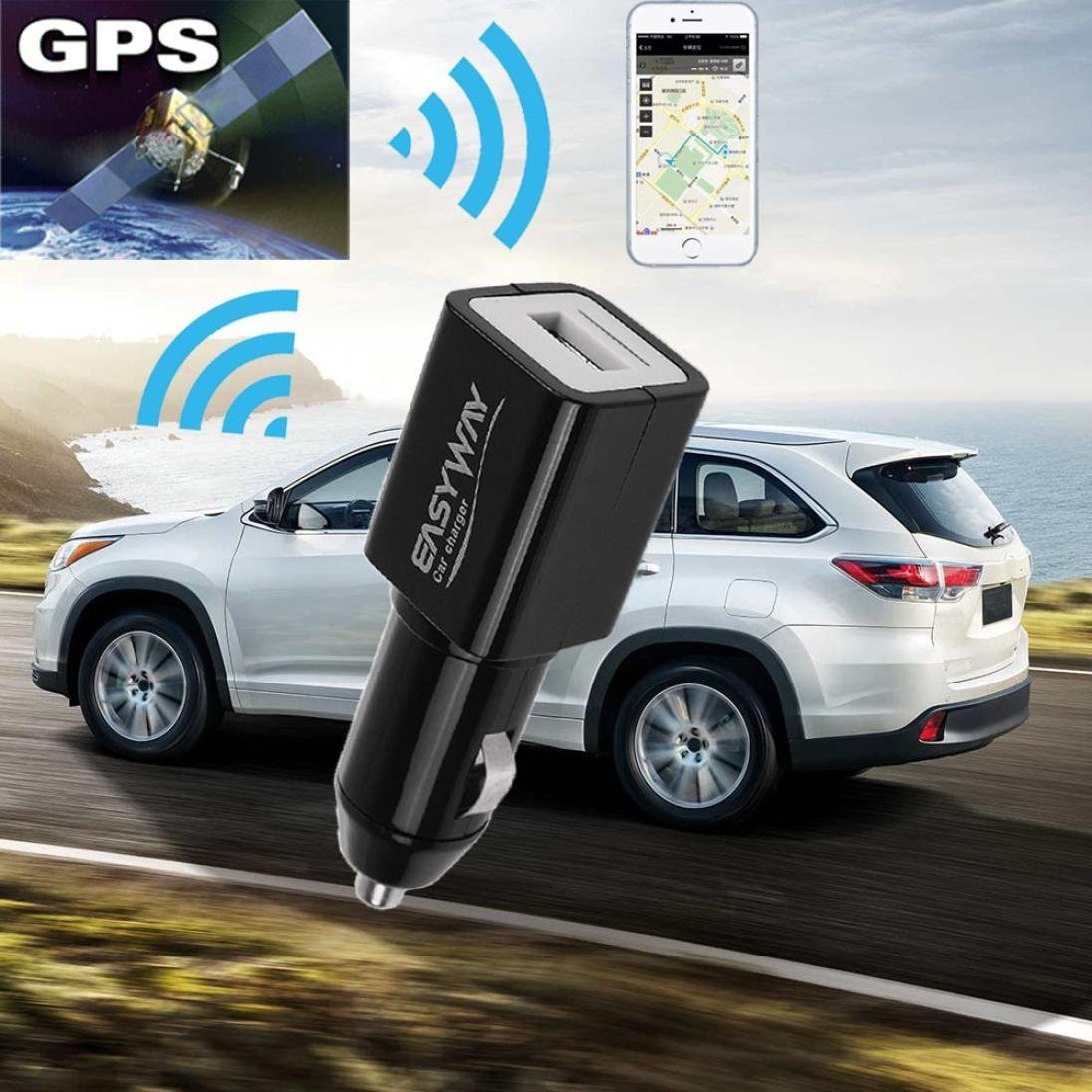 GBSELL Mini Portable Car Charger GPS Locator GSM GPRS Rea...