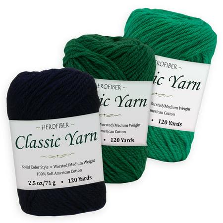 Cotton Yarn - 3 Solid Colors [2 5 oz Each] - Navy Dark, Green Pine, Green  Shamrock - Worsted/Medium Weight - Assortment for Knitting, Crochet,